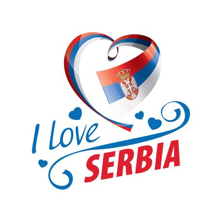 National flag of the Serbia in the shape of a heart and the inscription I love Serbia. Vector illustration