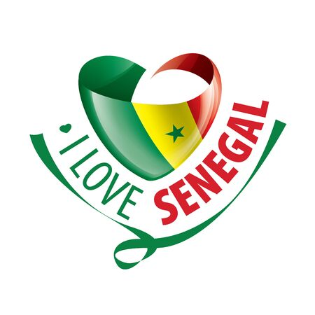 National flag of the Senegal in the shape of a heart and the inscription I love Senegal. Vector illustration