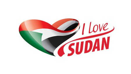 National flag of the Sudan in the shape of a heart and the inscription I love Sudan. Vector illustration