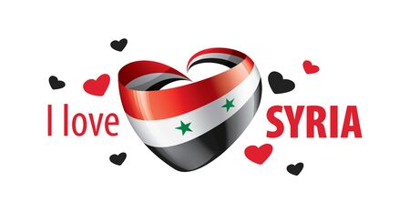 National flag of the Syria in the shape of a heart and the inscription I love Syria. Vector illustration Illustration