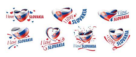 National flag of the Slovakia in the shape of a heart and the inscription I love Slovakia. Vector illustration
