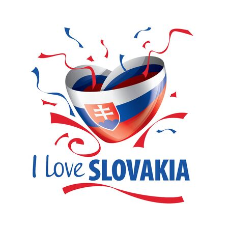 National flag of the Slovakia in the shape of a heart and the inscription I love Slovakia. Vector illustration