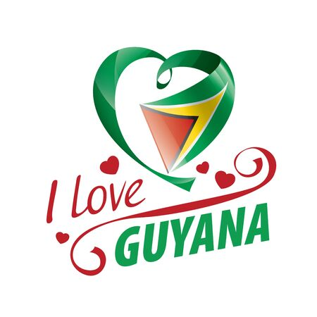 National flag of the Guyana in the shape of a heart and the inscription I love Guyana. Vector illustration