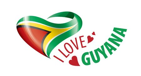 National flag of the Guyana in the shape of a heart and the inscription I love Guyana. Vector illustration.