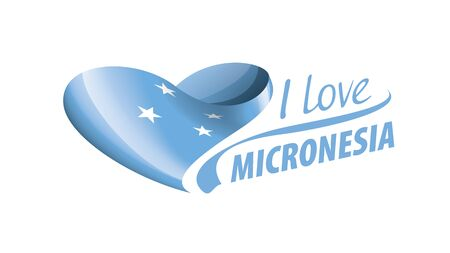 National flag of the Micronesia in the shape of a heart and the inscription I love Micronesia. Vector illustration 矢量图像