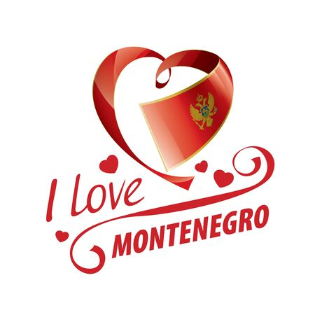 National flag of the Montenegro in the shape of a heart and the inscription I love Montenegro. Vector illustration