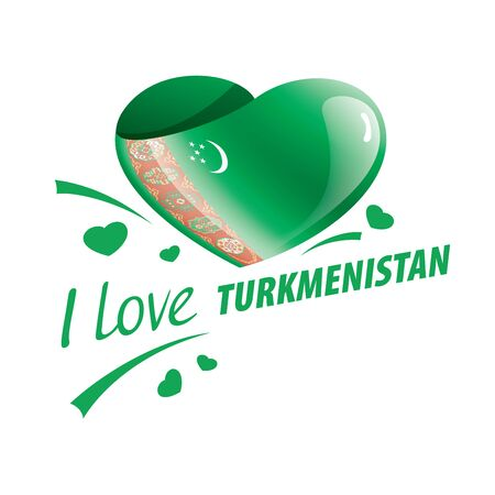 National flag of the Turkmenistan in the shape of a heart and the inscription I love Turkmenistan. Vector illustration Illustration
