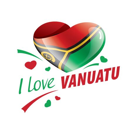 National flag of the Vanuatu in the shape of a heart and the inscription I love Vanuatu. Vector illustration