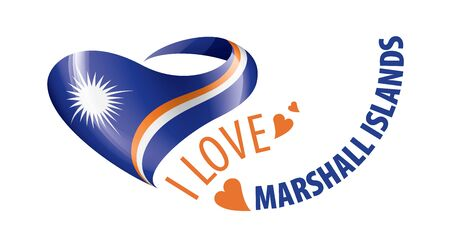 National flag of the Marshall Islands in the shape of a heart and the inscription I love Marshall Islands. Vector illustration.