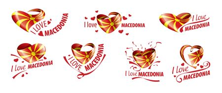 National flag of the Macedonia in the shape of a heart and the inscription I love Macedonia. Vector illustration Illustration