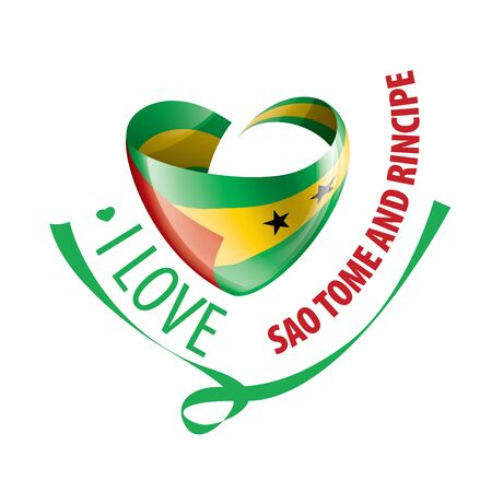 National flag of the Sao Tome and Principe in the shape of a heart and the inscription I love Sao Tome and Principe. Vector illustration Ilustração