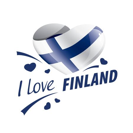 National flag of the Finland in the shape of a heart and the inscription I love Finland. Vector illustration Ilustração