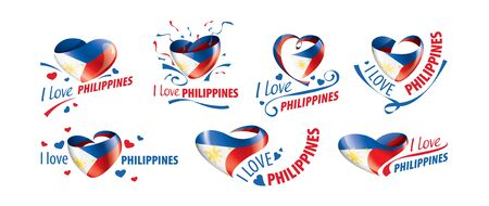 National flag of the Philippines in the shape of a heart and the inscription I love Philippines. Vector illustration Ilustrace