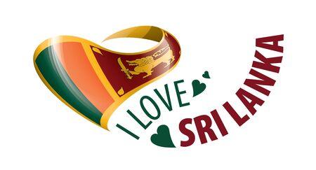National flag of the Sri Lanka in the shape of a heart and the inscription I love Sri Lanka. Vector illustration Ilustração