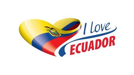 National flag of the Ecuador in the shape of a heart and the inscription I love Ecuador. Vector illustration
