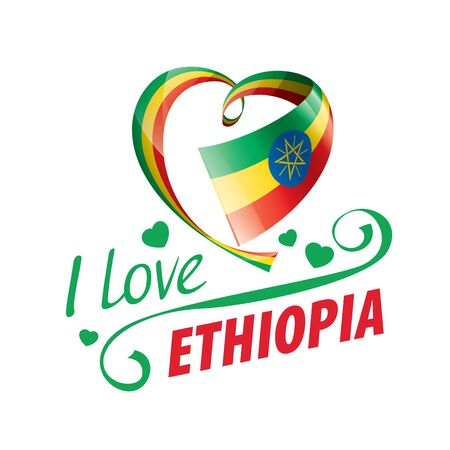 National flag of the Ethiopia in the shape of a heart and the inscription I love Ethiopia. Vector illustration