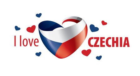 National flag of the Czechia in the shape of a heart and the inscription I love Czechia. Vector illustration