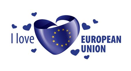 Flag of the European union in the shape of a heart and the inscription I love European union. Vector illustration