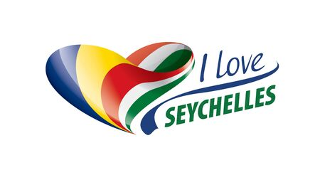 National flag of the Seychelles in the shape of a heart and the inscription I love Seychelles. Vector illustration 向量圖像