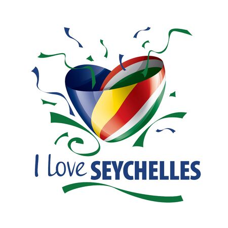 National flag of the Seychelles in the shape of a heart and the inscription I love Seychelles. Vector illustration Иллюстрация