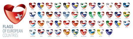 Set of flags of Europe. Vector illustration Illusztráció