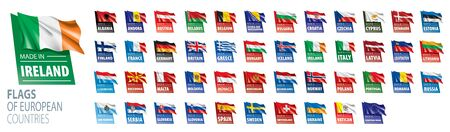 Set of flags of Europe. Vector illustration 向量圖像