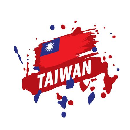 Taiwan flag, vector illustration on a white background