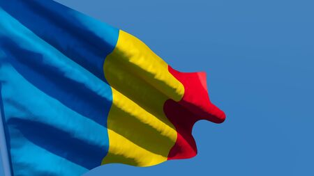 3D rendering of the national flag of Chad waving in the wind