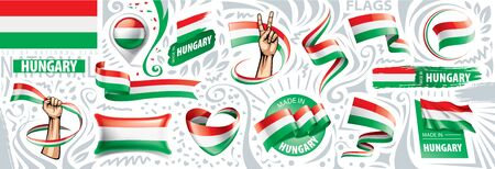Vector set of the national flag of Hungary in various creative designs