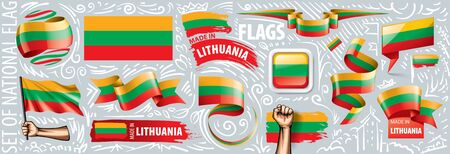 Vector set of the national flag of Lithuania in various creative designs