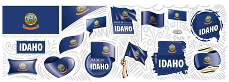 Vector set of flags of the American state of Idaho in different designs