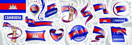 Vector set of the national flag of Cambodia in various creative designs