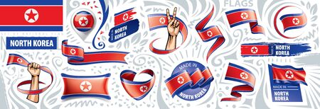 Vector set of the national flag of North Korea in various creative designs