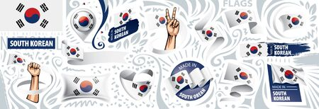 Vector set of the national flag of South Korean in various creative designs