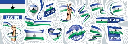 Vector set of the national flag of Lesotho in various creative designs