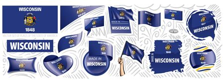 Vector set of flags of the American state of Wisconsin in different designs Ilustração