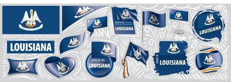 Vector set of flags of the American state of Louisiana in different designs