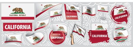 Vector set of flags of the American state of California in different designs