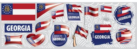 Vector set of flags of the American state of Georgia in different designs