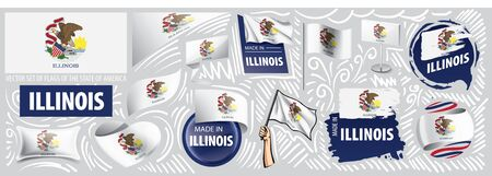 Vector set of flags of the American state of Illinois in different designs