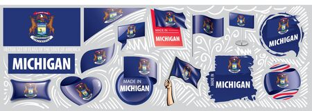Vector set of flags of the American state of Michigan in different designs
