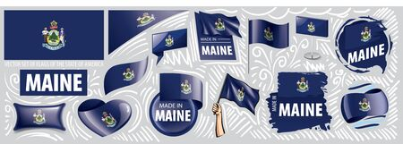 Vector set of flags of the American state of Maine in different designs