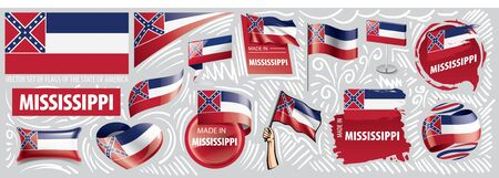 Vector set of flags of the American state of Mississippi in different designs