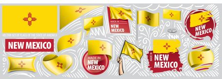 Vector set of flags of the American state of New Mexico in different designs 向量圖像