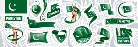 Vector set of the national flag of Pakistan in various creative designs
