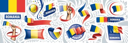 Vector set of the national flag of Romania in various creative designs