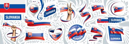 Vector set of the national flag of Slovakia in various creative designs 向量圖像