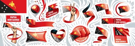 Vector set of the national flag of Papua New Guinea in various creative designs
