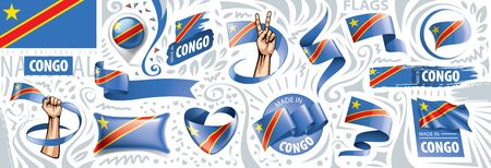 Vector set of the national flag of Democratic Republic of the Congo