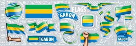 Vector set of the national flag of Gabon in various creative designs